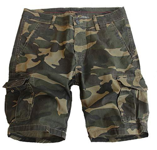 Fun Coolo Pantaloncini Corti Bermuda Cargo Shorts con tasconi Laterali, Mimetico Militare Sabbia S 46