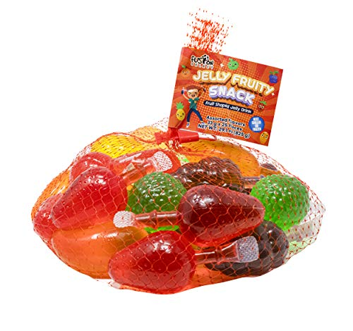 Fusion Select Jelly Fruity Snack Tik Tok Challenge Hit or Miss - Fruit-Shaped Jelly- Assorted Flavors, Strawberry, Orange, Apple, Pineapple, Grape, Mango (Mesh Bag)
