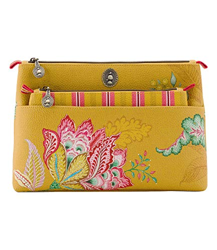 PiP Studio Cosmetic Bag Combi Jambo Flower Green 26 x 18 x 7,5 cm/22 x 13 x 1 cm make-up tas ritssluiting
