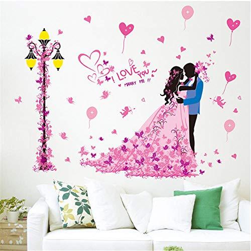 GVFTG romantische boeket ballon vlinder paar muur sticker Vinyl DIY woonkamer slaapkamer bruiloft kamer decoratie muurschildering kunst 60X90cm