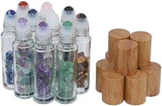 10Packs 10ml Natural Semiprecious Stones Clear Glass Roll-on Bottles Gemstone Essential Oil Roller Bottles with Bamboo Caps and Healing Crystal Chips Inside
