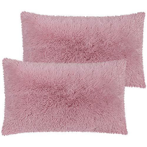 PiccoCasa Pack of 2 Mauve Faux Fur Pillow Cases Fluffy Shaggy Plush Long Hair Fur Soft Throw Pillow Covers Shams with Zipper Closure Queen 20x30 Inch