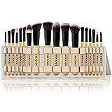 SHANY Artisan's Easel Bamboo - Colección de brochas de maquillaje Elite - Juego completo de brochas de maquillaje Kabuki con soporte convertible para brochas – 18 piezas