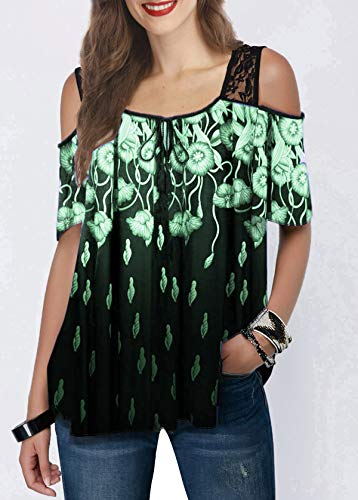 ZWH 2020 el Comercio transfronterizo Amazon explosión Deseo Modelos de Las Mujeres en Europa y América del Encaje Sueltos Impresos Blusas Camiseta de Manga Corta