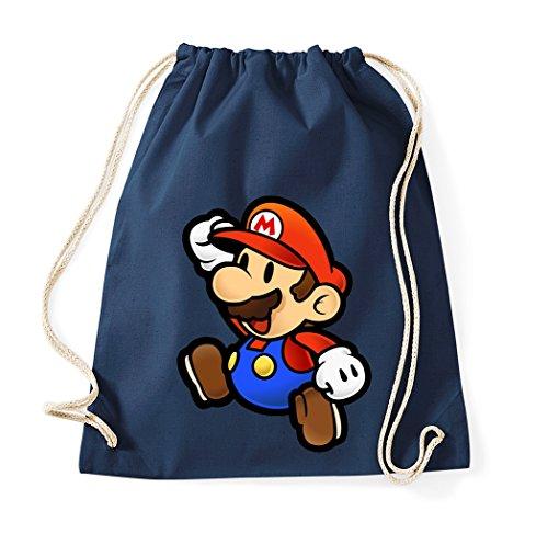 TRVPPY Baumwolltasche Turnbeutel Tasche Modell Mario - Navyblau