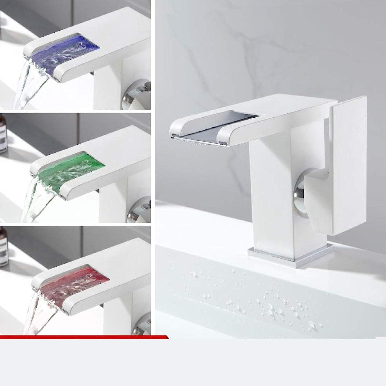 Led-Licht Waschbecken Wasserhahn Mit Temperatursensor Wasserkraft Wasserfall Waschbecken Wasserhahn Waschtischmischer@Weiß_12.5Cm