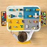 burgkidz Table et Chaise pour Enfants Multi-Activités avec 381 Pièces de Briques Créatives (100 Pièces de Gros Blocs et 281 Pièces de Petits Blocs), Table de Construction pour Garçons et Filles