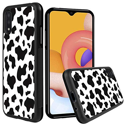 KANGHAR Samsung Galaxy A01 Case Tire Cow Black White Slim Anti-Scratch Shockproof Skid Outline Durable PC Layer TPU Bumper Anti-Dropping Full Body Protection Cover -5.7 Inch