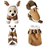 Mogoko Dog Cat Christmas Reindeer Costume, Funny Pet Elk Cosplay Dress, Puppy Fleece Outfits Warm Hoodie Xmas Apparel Clothes (S' Size)