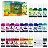 Alcohol Ink Set - 24 Colores Tinta Alcohol para Pintura de Resina Epoxi, Fabricación de Placas Petri Resina - Tinte de Color de Pintura Alcohol para Arte de Resina, Vasos, Pintura - 24 x 10 ml