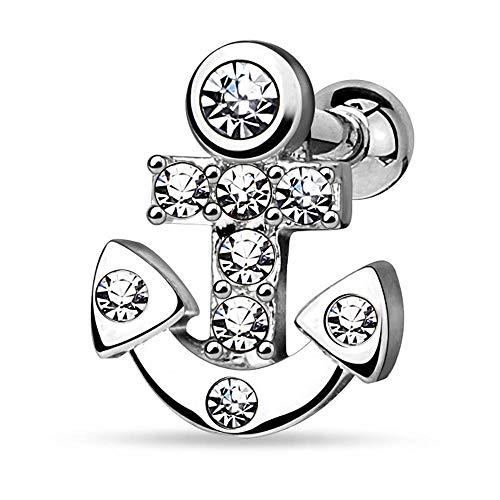 viva-adorno 1,2mm Helix Piercing Anker Kristall Stecker Cartilage Ohrpiercing Knorpelpiercing 316L Chirurgenstahl Z515.D1