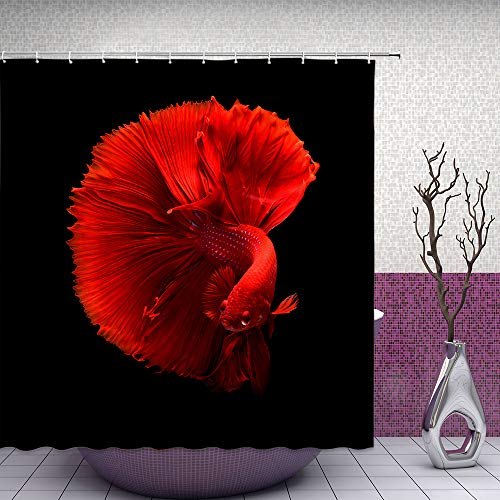 Feierman Black Red Shower Curtain Fish Decor Red Sex Goldfish Bathroom Curtain Accessories Polyester Fabric Bathroom Shower Curtain Set with Hooks 70x70Inches