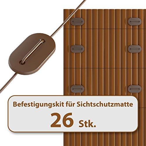 Homelux Befestigungskit für Sichtschutzmatte Windschutz Balkonverkleidung Farbe: BRAUN