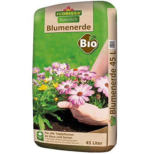 Florissa Natürlich 58572 Bio Blumenerde (45 l)   torffrei   für Beet, Balkon-und Zimmerpflanzen, Braun