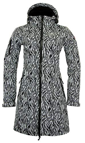 Nordberg Softshell Mantel   Longjacke Zebra mit Abnehmbarer Kapuze und windgeschütztem Reißverschluss