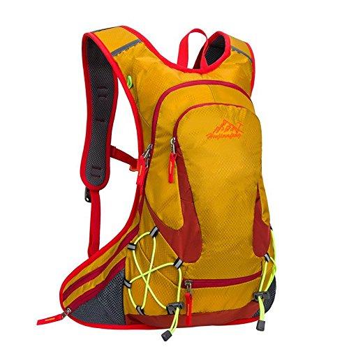 QYXANG Rucksack für Outdoor - Sportarten Laufen Reisen Bergsteigen mit Helm Netto wasserdicht atmungsaktive Ultralight 18l 5farben, Yellow
