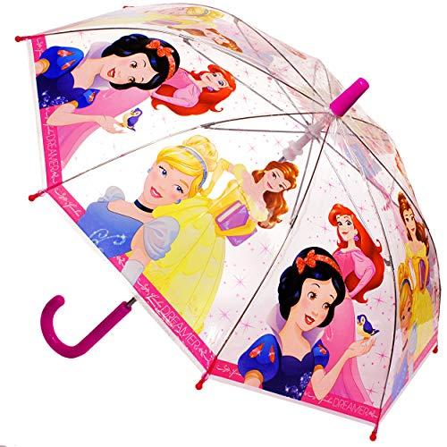 alles-meine.de GmbH Regenschirm -  Disney Princess - Prinzessin  - Kinderschirm Ø 70 cm / durchsichtig & durchscheinend - transparent - Kinder - groß Stockschirm mit Griff - Re..