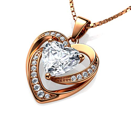 DEPHINI - Rose Heart Necklace - 925 Sterling Silver - Gold plated silver - Fine Jewellery Love - 18' Premium Rhodium Plated Silver Chain - Cubic Zirconia - Gifts for Women