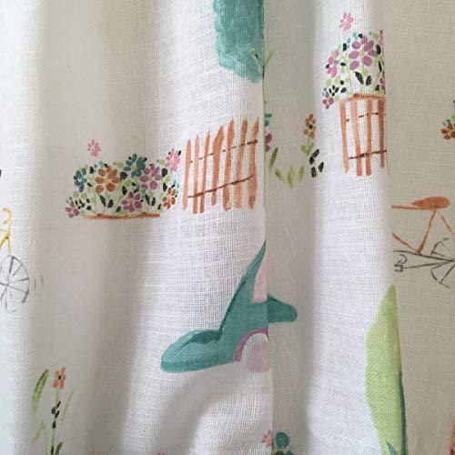Tela por metros de cortina - Visillo estampado digital - 15% lino, 85% algodón - Ancho 300 cm - Largo a elección de 50 en 50 cm | Coches y bicis: Amazon.es: Hogar