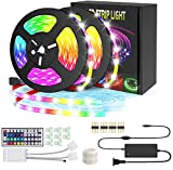 VIDGOO Led Strip Lights, 32.8Ft Decoration 5050 RGB Light Strip Kits with 44 Keys IR Remote Control 12V Power Supply Flexible Color Changing Waterproof Led Lights for Bedroom TV Home Party