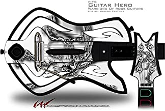 Chrome Skull on White Decal Style Skin - fits Warriors Of Rock Guitar Hero Guitar (GUITAR NOT INCLUDED)