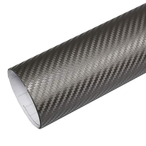 Rapid Teck® 5,26€/m² Premium – 3D Carbon Silber Grau 50cm x 1,52m Auto Folie Blasenfrei mit Luftkanälen für Auto Folierung und 3D bekleben in Matt Glanz und Carbon Autofolie