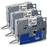UniPlus Nastro Adesivo Termorestringente Compatibile per Brother HSc-231 HSc231 Nastro per Etichette per Brother PT-E300 PT-H300 PT-E300VP PT-E500 PT-E550W, 11.7mm x 1.5m, Nero su Bianco, 3 Pz