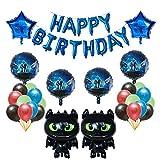 HNTHBZ Globo 1set Cómo Entrenar A Tu Globos De Dientes Ceremonia Negro Dragón Desdentado Bola De La Fiesta De Cumpleaños del Bebé Héroe Temático Decoración Juguetes (Color : Deep Blue)