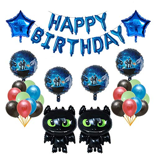 HNTHBZ Ballon 1set Wie Sie Ihren Zahn-Ballone Black Dragon Zahnlos Kugel Ceremony-Geburtstags-Party-Baby-Thema-Held Dekoration Spielzeug Zähmen (Color : Deep Blue)
