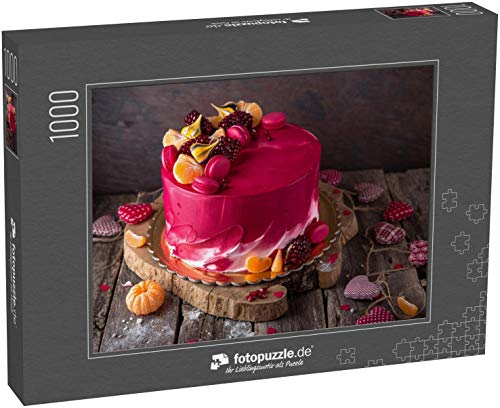 fotopuzzle.de Puzzle 1000 Teile Valentinstag, Muttertag, Geburtstagskuchen. EIN festliches Dessert in Form eines Herzens (1000, 200 oder 2000 Teile)