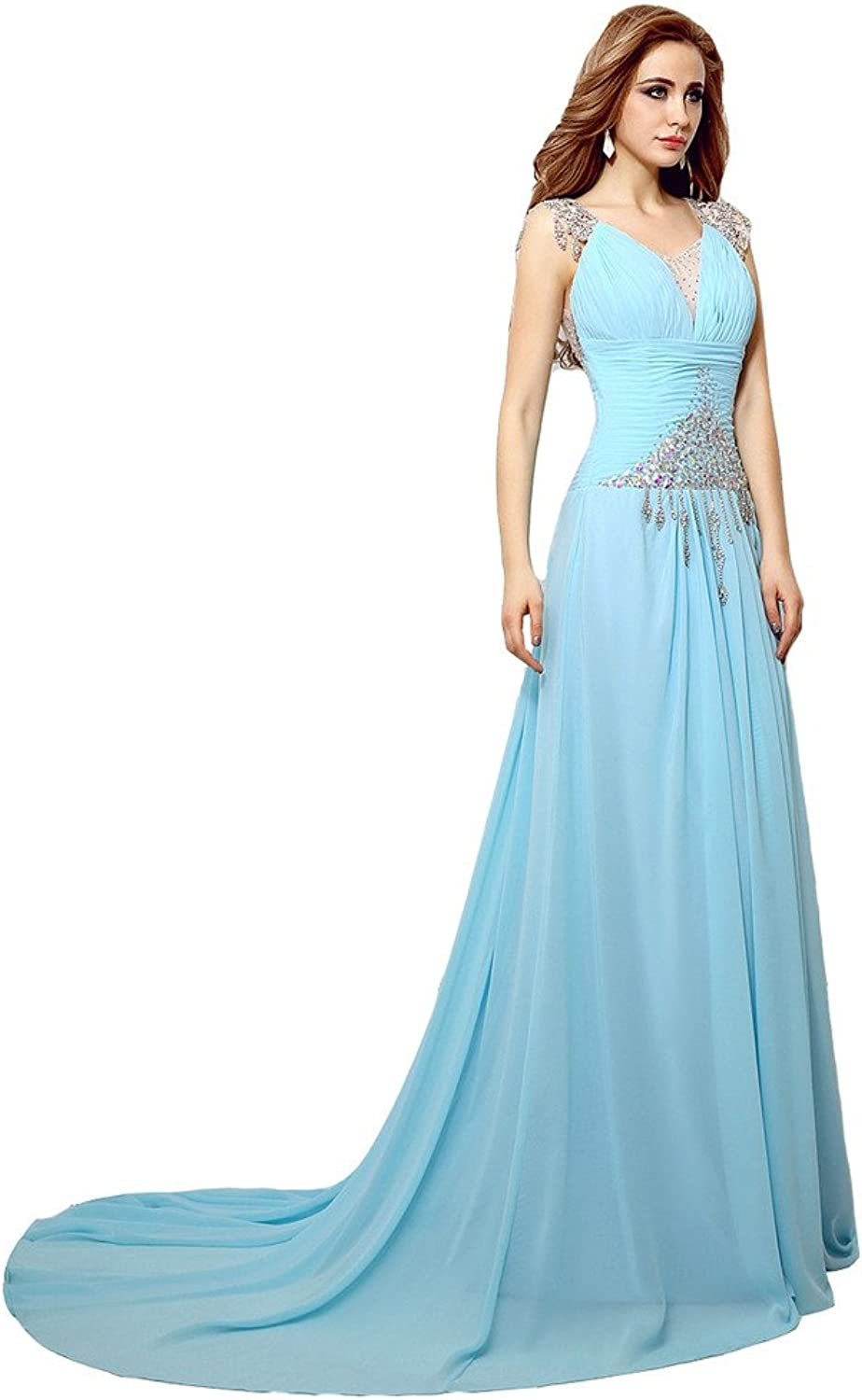 Lemai Women's Crystals Long Formal Evening Prom Dresses Sheer Back Baby bluee