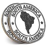 Posavasos redondos de vinilo de Destination Ltd (juego de 2) BW – mapa de América del Sur viajes Argentina bebida/protección de mesa para cualquier tipo de mesa #40193