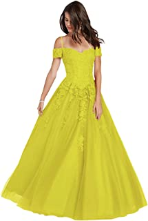 Women's Spaghetti Strap Off The Shoulder Lace Prom Dress Long Tulle Formal Evening Gown