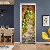 ZYHHQ Papier Peint Porte Arc Vintage 77 cm x 200 cm Sticker Porte Trompe l'oeil Effect 3D Autocollant de Porte muraux Bricolage pour Mur Salon Chambre Salle de Bain Maison Sticker
