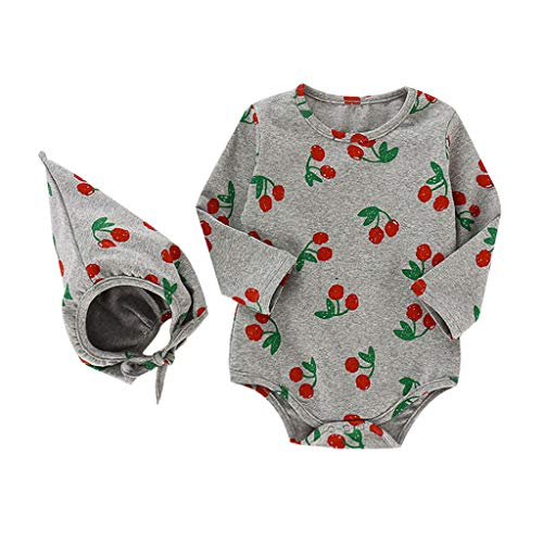 Weilov Infant Bébés Filles Fruit Imprimer Grenouillère Body Combishort Chapeau Vêtements Confortable Combinaison Chaud Grenouillère