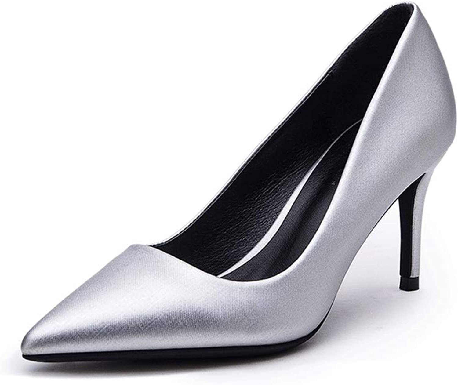Single shoes 2019 Autumn and Winter New bluee High-Heeled Women's Low-Heeled Pointed with Satin Dress Women's shoes Pumps Stiletto
