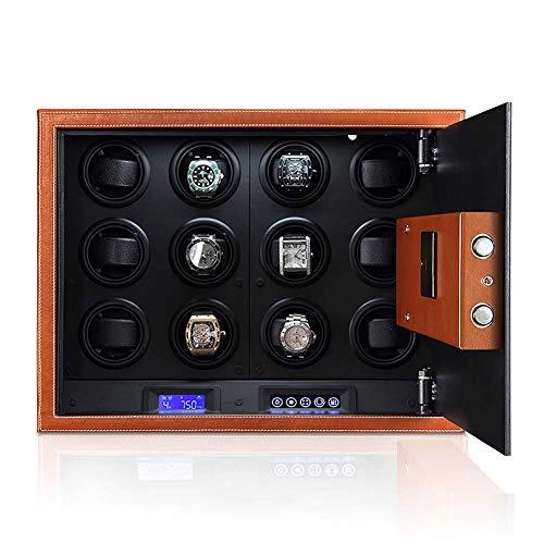 HFJ&YIE&H Uhrenbeweger Sicherheitsbox - für 12 Automatische Uhren Ruhig Mabuchi Motor/Einfache Einstellung/4 vorprogrammierte Modi Mikrofaser-Leder LED-Touchscreen Safe Uhrenbeweger