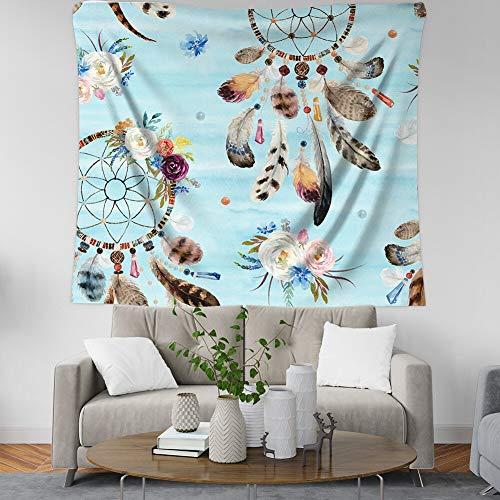 KHKJ Mandala Tapiz Colgante de Pared Breve Tapiz de Plumas Manta Tapices para niña Dormitorio Decoración de la habitación Envío de la Gota A4 150x130cm