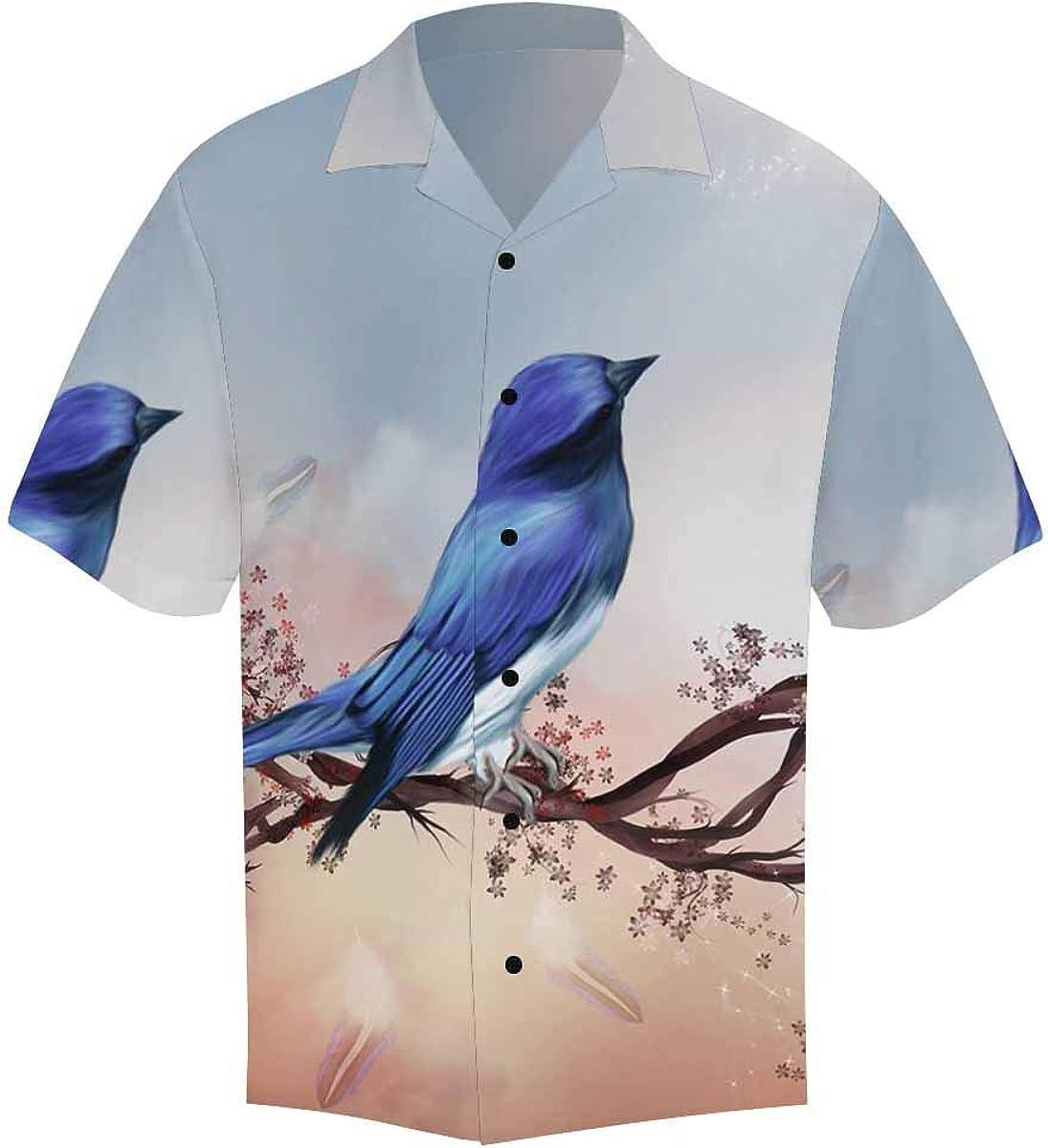 InterestPrint Men's Casual Button Down Short Sleeve Blue Ocean Cat Hawaiian Shirt (S-5XL)