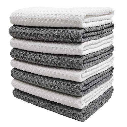 Polyte - Paño de Cocina de Microfibra con Punto gofrado - Ultra Premium - Gris, Blanco - 40,6 x 71,1cm - Pack de 8