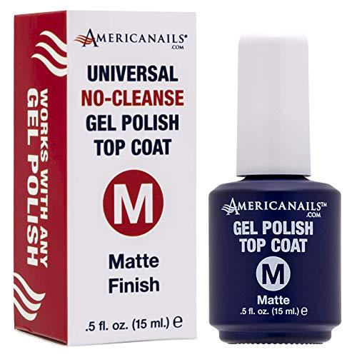 Americanails Gel Polish Top Coat - Original Dual Cure Formula for Maximum Adhesion, Long Lasting, Soak Off UV LED Fast Drying Gel Nail Lacquer - Matte Finish, (0.5 oz)
