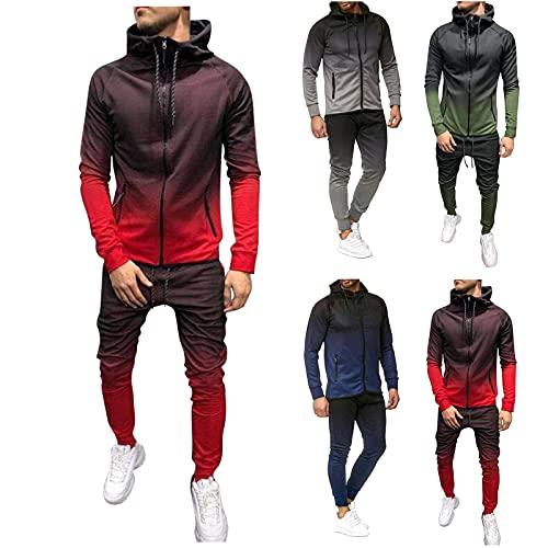Sheey Chandal Hombre Completo Chandals Hombre Conjunto de Ropa Costura Cremallera Chándal Hombre Completo Traje Deportivo Pantalones Abrigo Chaqueta Jersey para Primavera Otoño Invierno Trabajo
