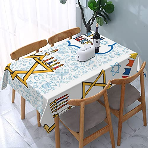 Hanukkah Greeting Carddoodle Jewish Holiday Table Cloth Stain Resistant Waterproof Wrinkle Resistant Oblong Tablecloth Polyester Fabric Damask Table Cover for Decorative Holiday Dinner Use