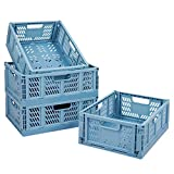 Tuevob Plastic Drawer Organizer Collapsible Storage Boxes Crate,4-Pack Stackable Folding Storage Basket Closet Containers Toy Organiser for Home Office Bedroom Kitchen Drawer Pull Out Under Bed-Blue