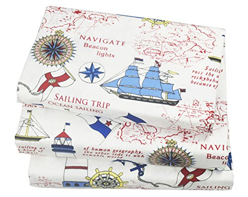 J-pinno Cute Cartoon Sailboat Ocean Sea Adventure Printed Twin Sheet Set for Kids Boy Children,100% Cotton, Flat Sheet + Fitted Sheet + Pillowcase Bedding Set
