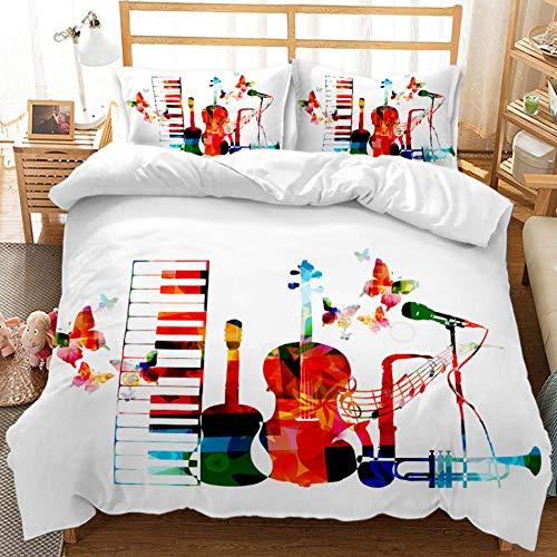 Funda Nórdica Cuna 200X200 Instrumento Musical Blanco Juego De Cama De Microfibra De Calidad, Cómodo Diseño Moderno 1 Funda De Edredón Y 2 Fundas De Almohada Ultra Suavidad.