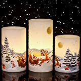 """Eldnacele Christmas Flameless Candles with Timer, LED Flickering Battery Pillar Candles with 6H Timer and Santa Snowman Decals, Festival Winter Party Decoration Set of 3 (D 3"""" x H 4"""" 5"""" 6"""") - Santa"""