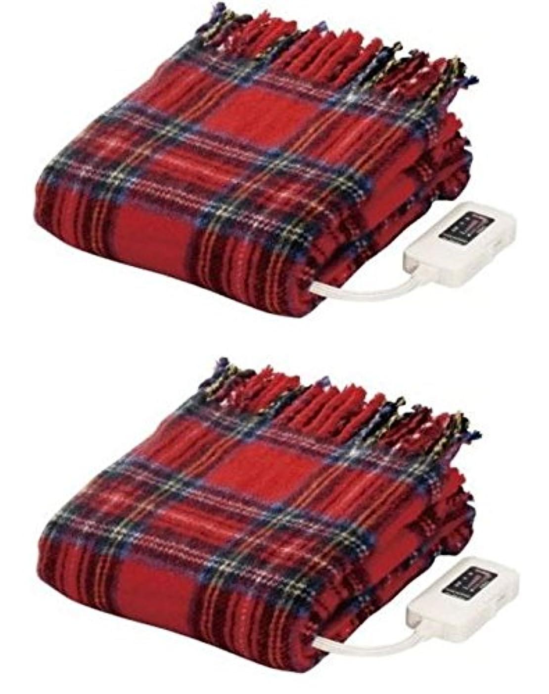 不従順コンペ混乱【 2個セット】日本製 なかぎし 電気毛布 ひざ掛け 140 × 82cm NA-055H-RT 赤 レッド [NA-052Hの新モデル] ナカギシ ホットブランケット