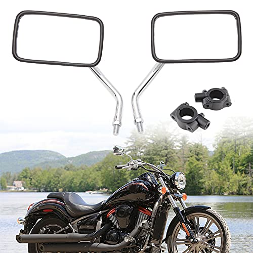 JMTBNO 10mm Universal Espejo retrovisor de motocicleta Cromo Espejos laterales con 7/8' 22mm Espejo Abrazadera Soporte para Cruiser Chopper Bobber (Rectángulo)