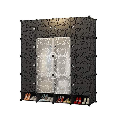 Jurass Kunststoff schwarz modularen Kleiderschrank, tragbare Garderobe zum Aufhängen von Kleidung, modulare Schränke, platzsparend, ideale Lagerung Aufbewahrungsbox Cube Garderobe